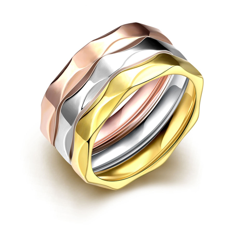 Creativity Three Color Circle Stainless Steel Women Ring R026