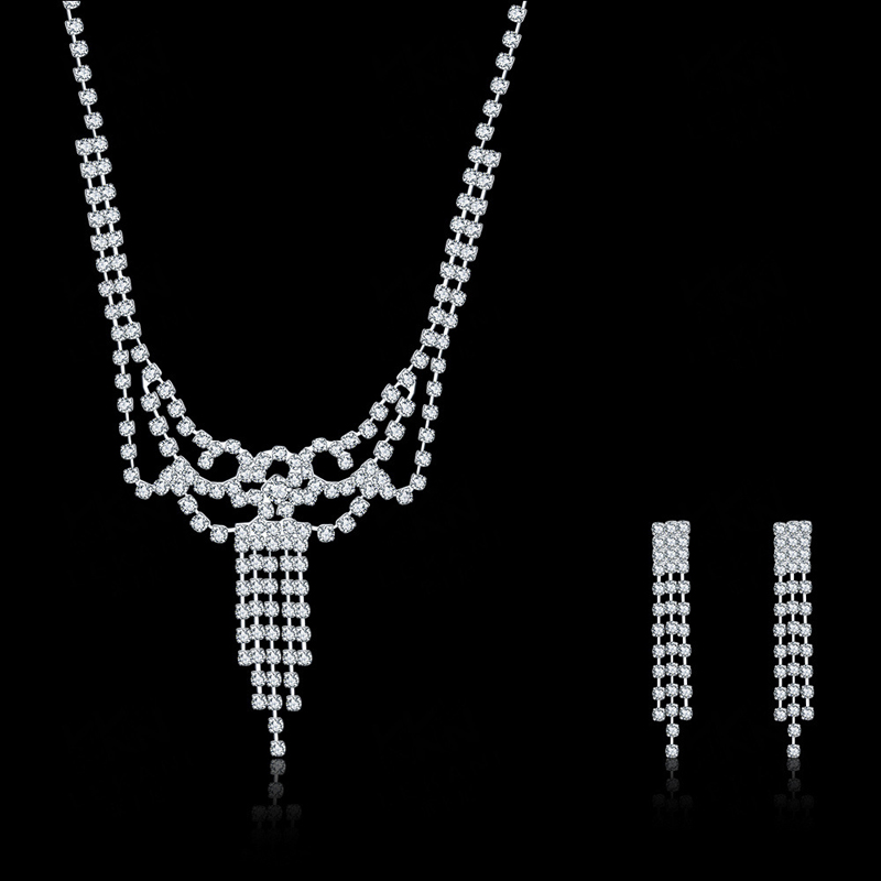 Crystal Bridal Jewelry Sets Wedding Jewelry Suit Accessories Including Necklace and Earrings CDS039