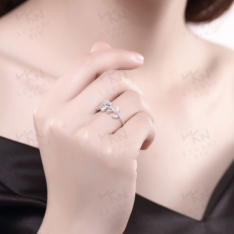 Flower Tree Open-End Ring Engagement Sterling-Silver Rings Silver Woman European Style Ring SVR049