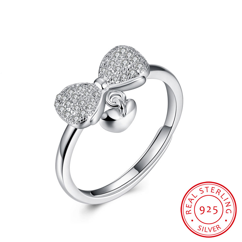 Bow & Heart With CZ Open-End Ring Sterling-Silver Woman Jewelry Wholesale Ring SVR051