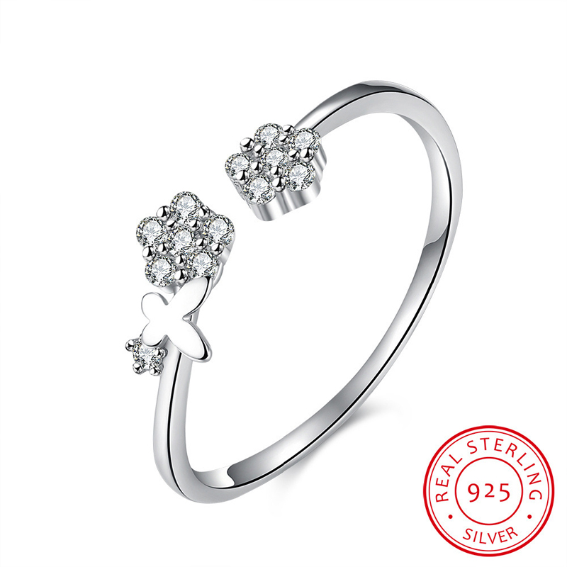 925 Sterling Silver Jewelry Charm Flower Crystal Open Rings for Women Lover SVR021
