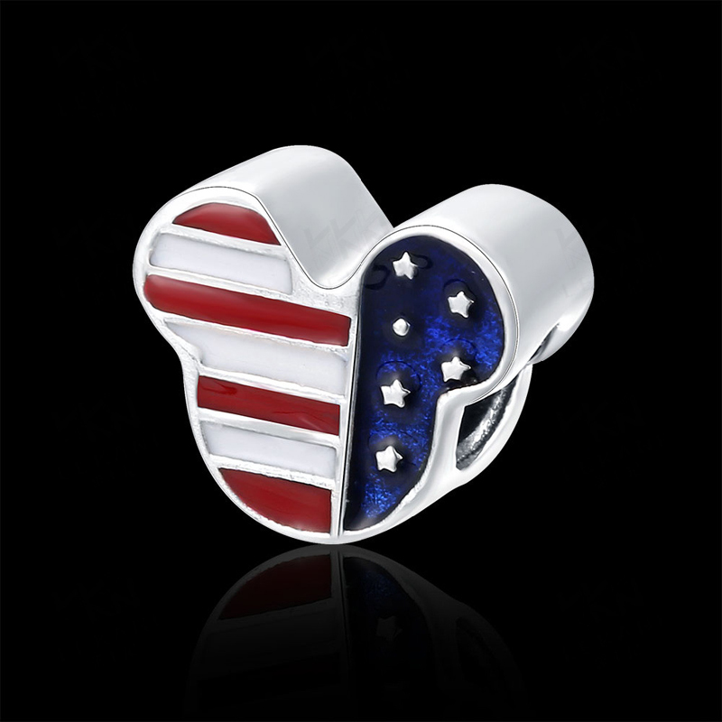 Classic American flag 925 Sterling Silver Heart Beads DIY Charms Big Hole Charm Fit For Pandora Charms Bracelets and Pendants