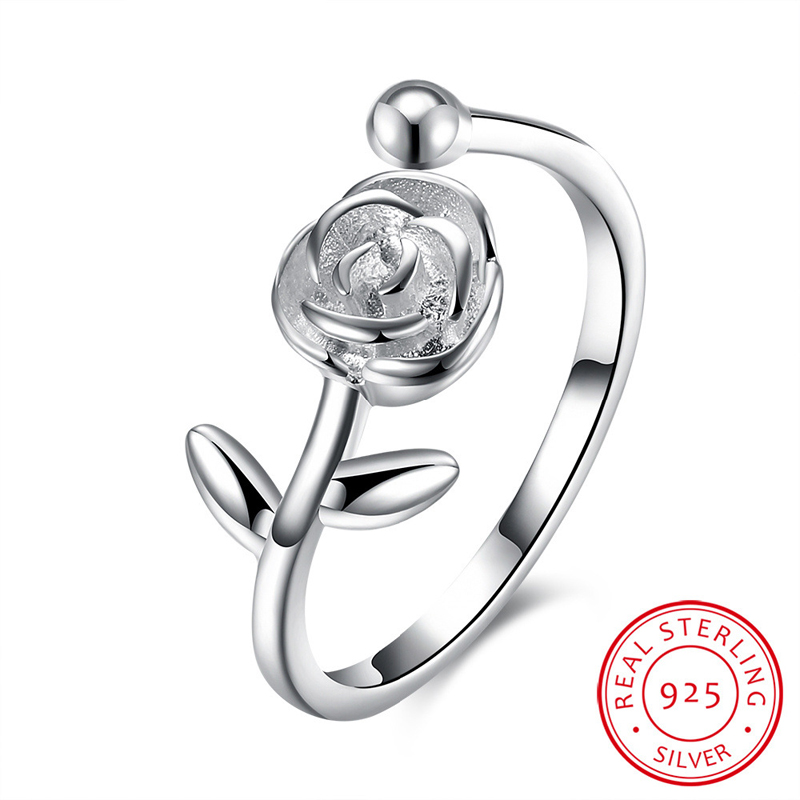 925 Sterling Silver Adjustable Ring Silver Plated Rose Rings Women's Ring SVR097