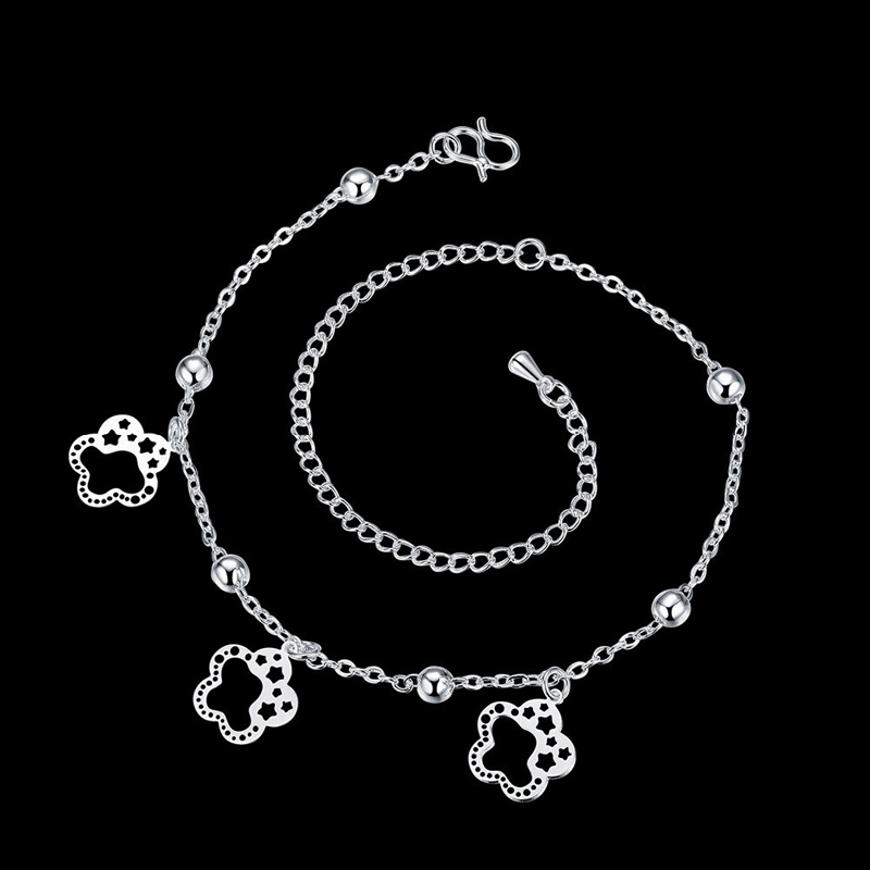 Flower Foot Bracelet Silver 925 Sterling Silver Plated Anklet Bracelets For Women Foot Chain