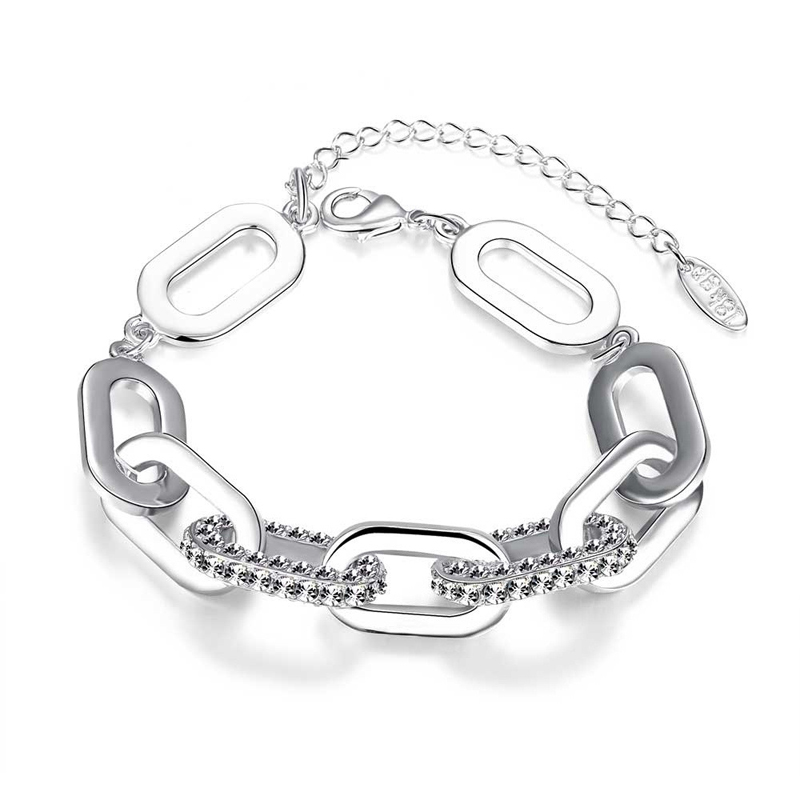 Fashion Jewelry Silver Plated Linked Circle Bracelet for Women Christmas Gift AKB018