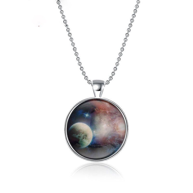 Glow In The Dark Blue Glass Galaxy Necklace Silver Plated Fashion Women Night Light Necklace YGN146
