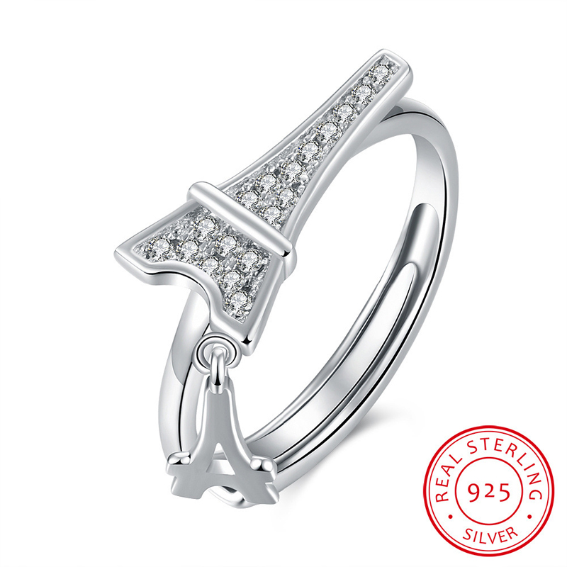 Paris Eiffel Tower Open Ring Solid 925 Sterling Silver Jewelry Rings for Women SVR044