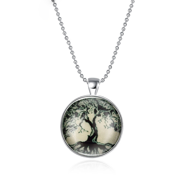 Fashion Glass Dome Silver Plated Life Tree Necklace For Women Glow In The Dark Necklace Pendant Jewelry YGN157