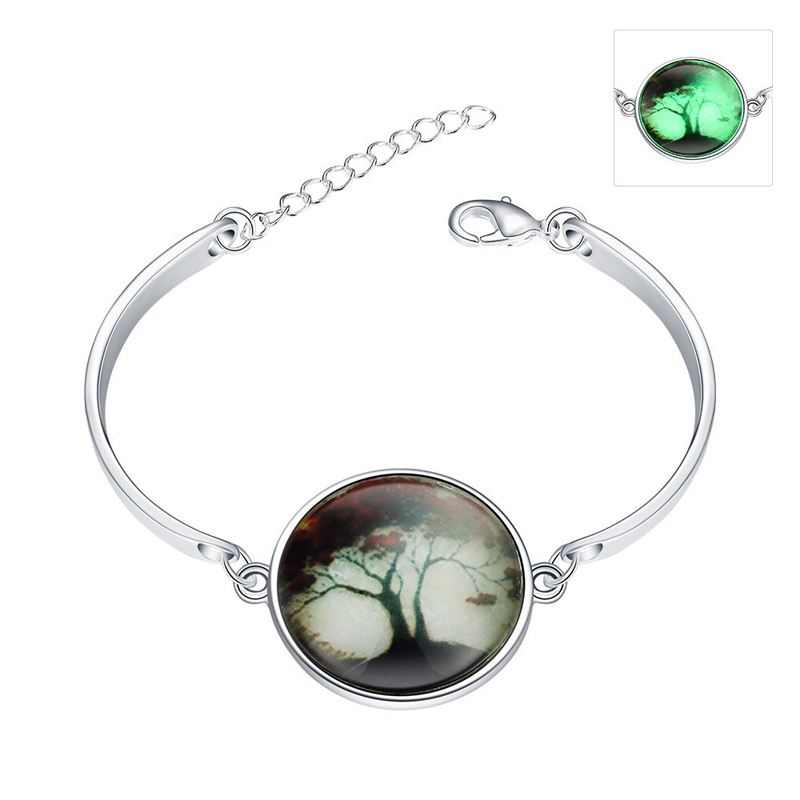 Silver Plated Christmas Tree Necklace Glow In The Dark Long Round Glass Necklace Unisex Jewelry YGN158