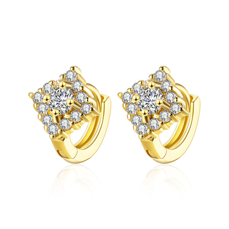 Crystal Geometric Earrings Gold Plated Stu Earrings Crystal Zirconia Wedding Earings AKE131