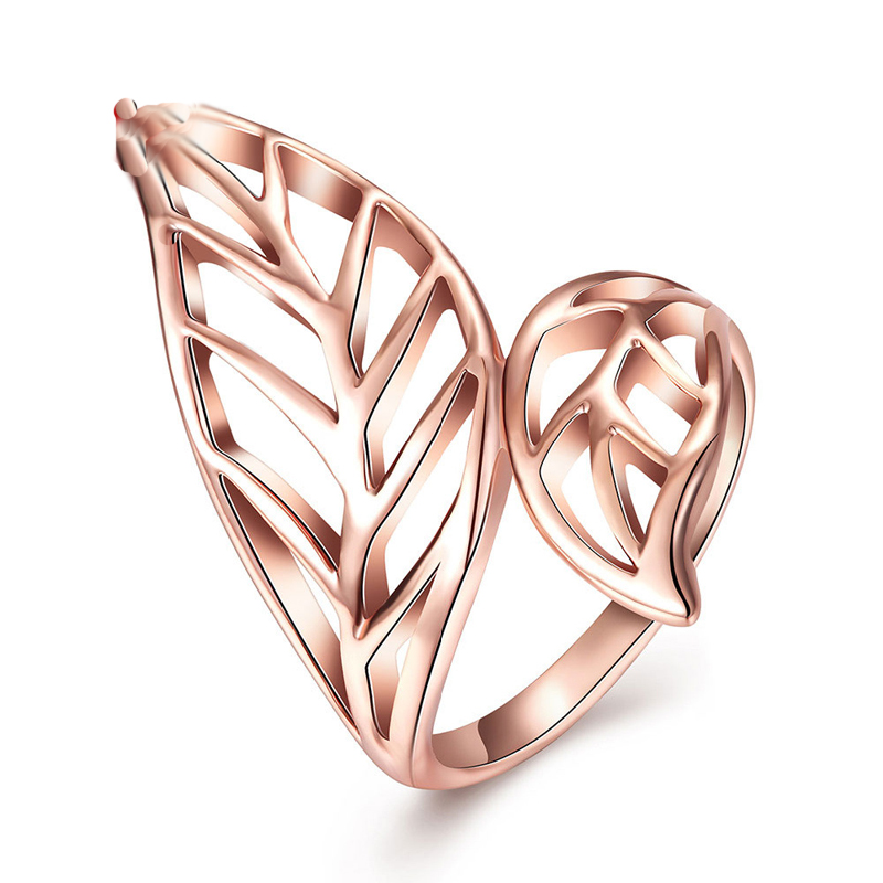 Punk Style Rose Gold Plated Leave Ring Hollow Out The Finger Rings Jewelry For Women AKR083