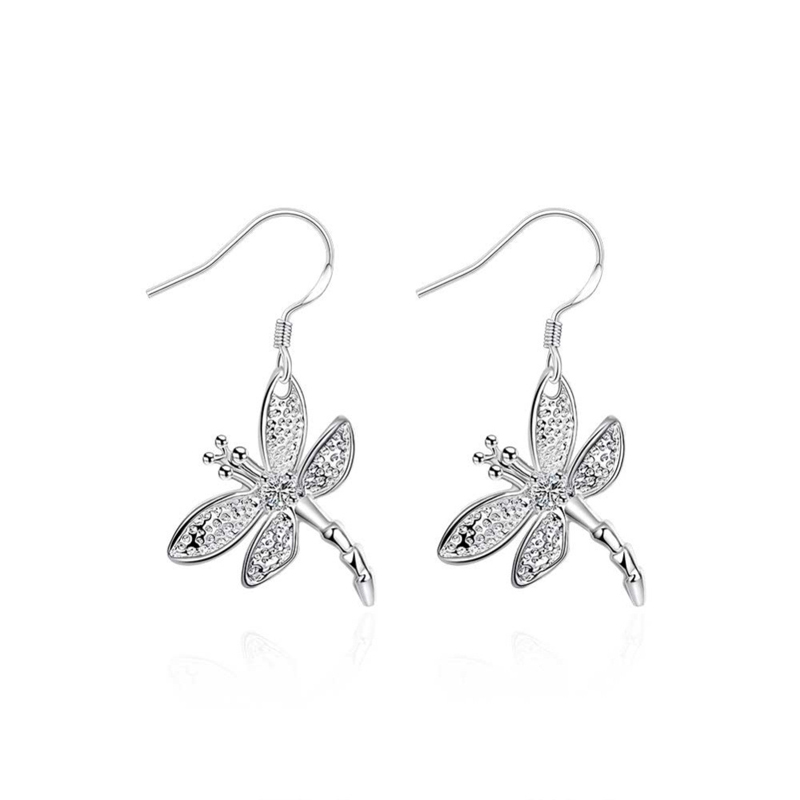 Animal Dragonfly Drop Earrings for Women Silver Plated Pendant Dangle Earrings