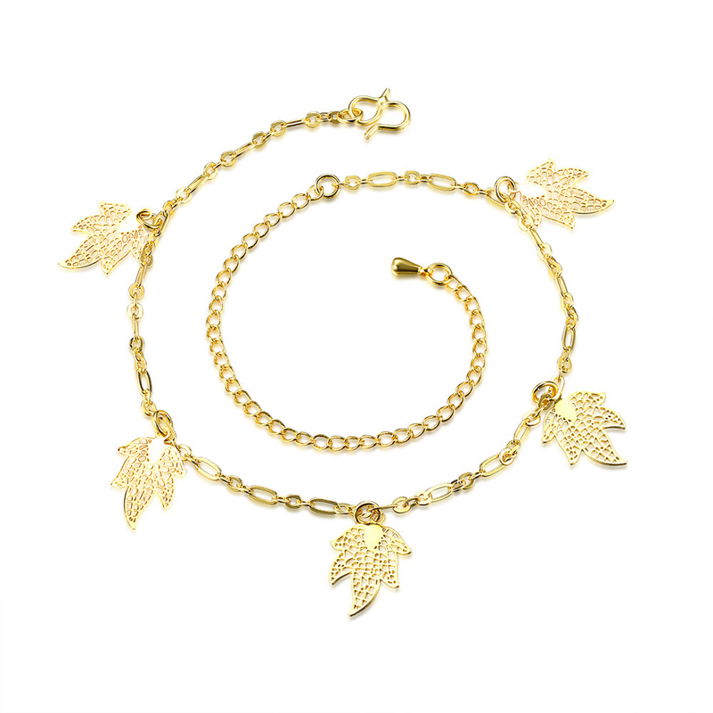 Gold Plated Leaf Anklet SimpleLeg Bracelets For Women Foot Chain
