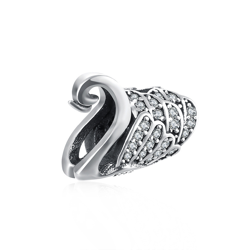 925 Sterling Silver Diamond Inlay Swan Bead for Braclet Accessories