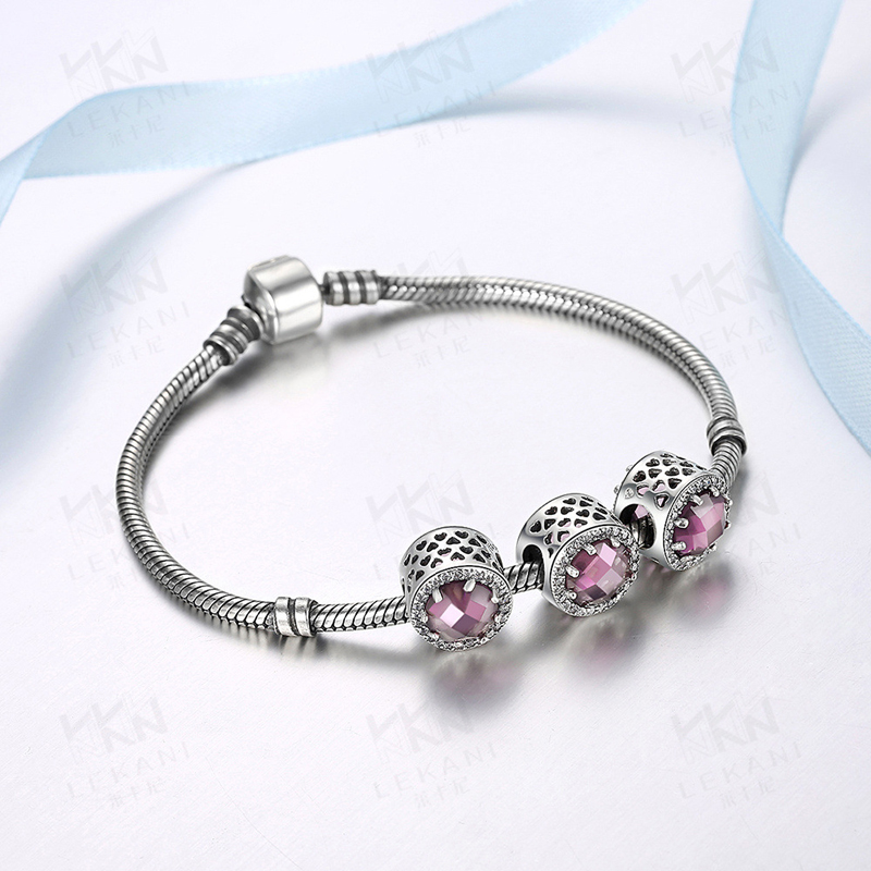 925 Sterling Silver Bracelet Accessories Purple Crystal for Women