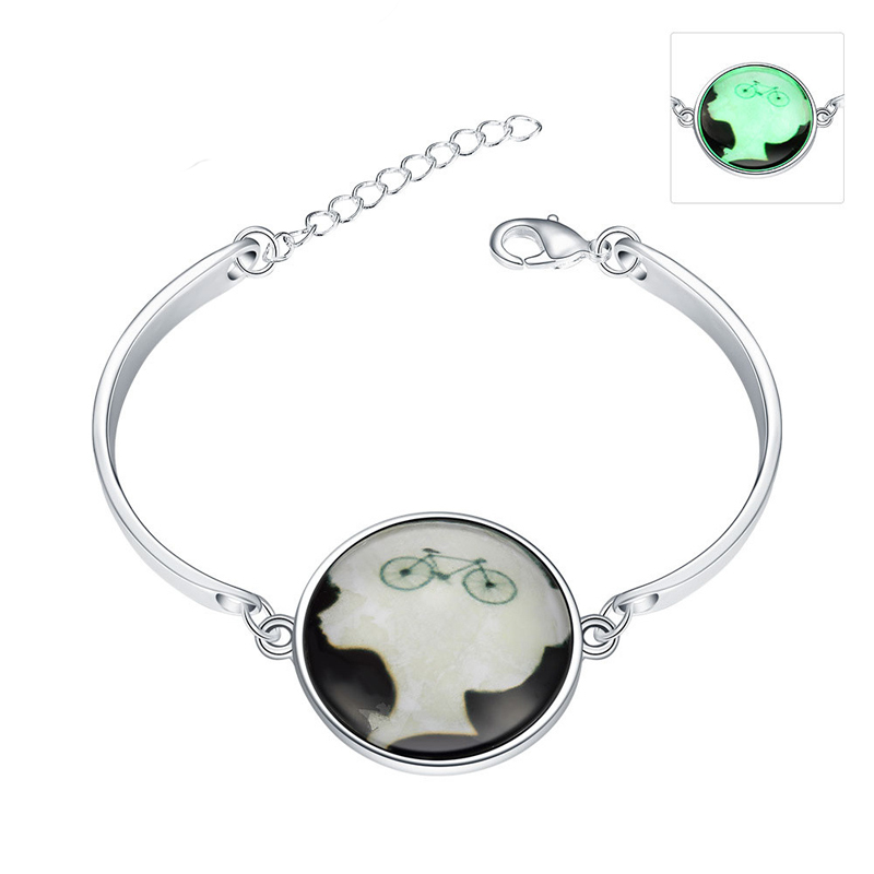 Luminous in the Dark Bicycle Pattern 925 Sterling Silver Braclet for Women YGH070