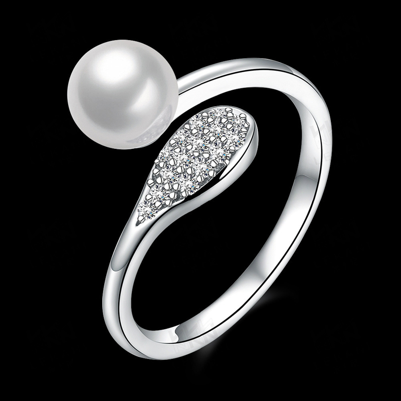 Pearl Open-End Ring Sterling-Sliver Rings Woman Jewelry European Style Jewlry SVR077