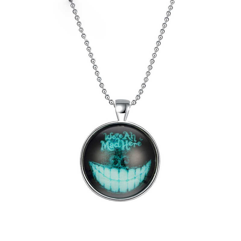Glow In The Dark Luminous Mens Teeth Necklaces Silver Plated Punk Style Necklaces & Pendants YGN101
