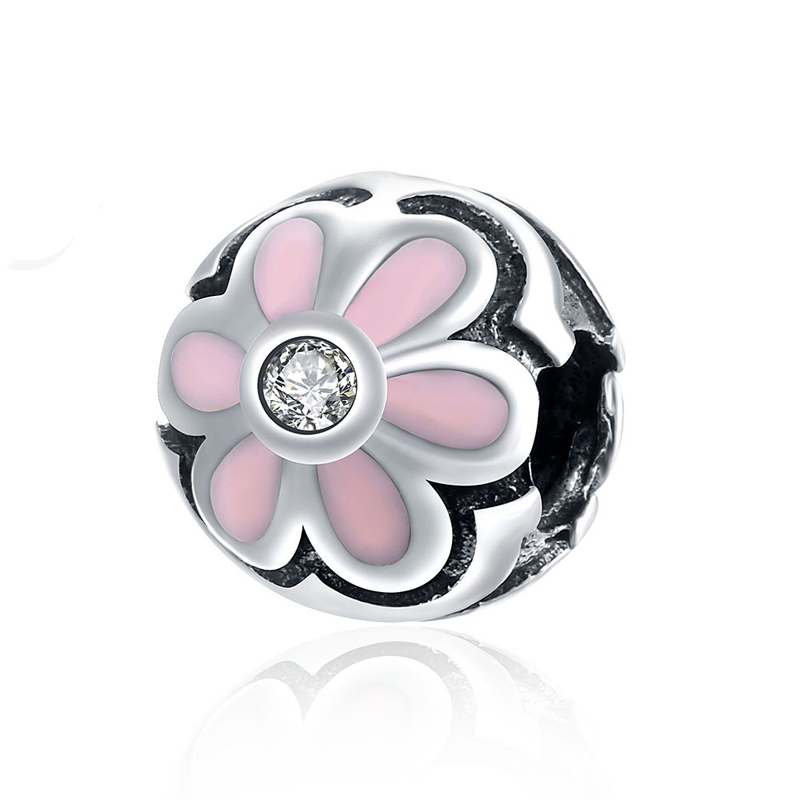 925 Sterling Silver Pink Flower Beads DIY Charms Big Hole Charm Crystal Zircon Bead Fit For Pandora Charms Bracelet and Neckl