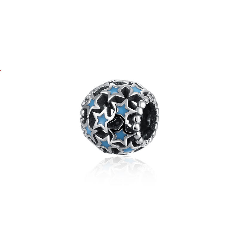 925 Sterling Silver Full Star Bead with Blue Enamel Round Hole Beads Fashion DIY Charms Fit For Pandora Bracelet and Necklace