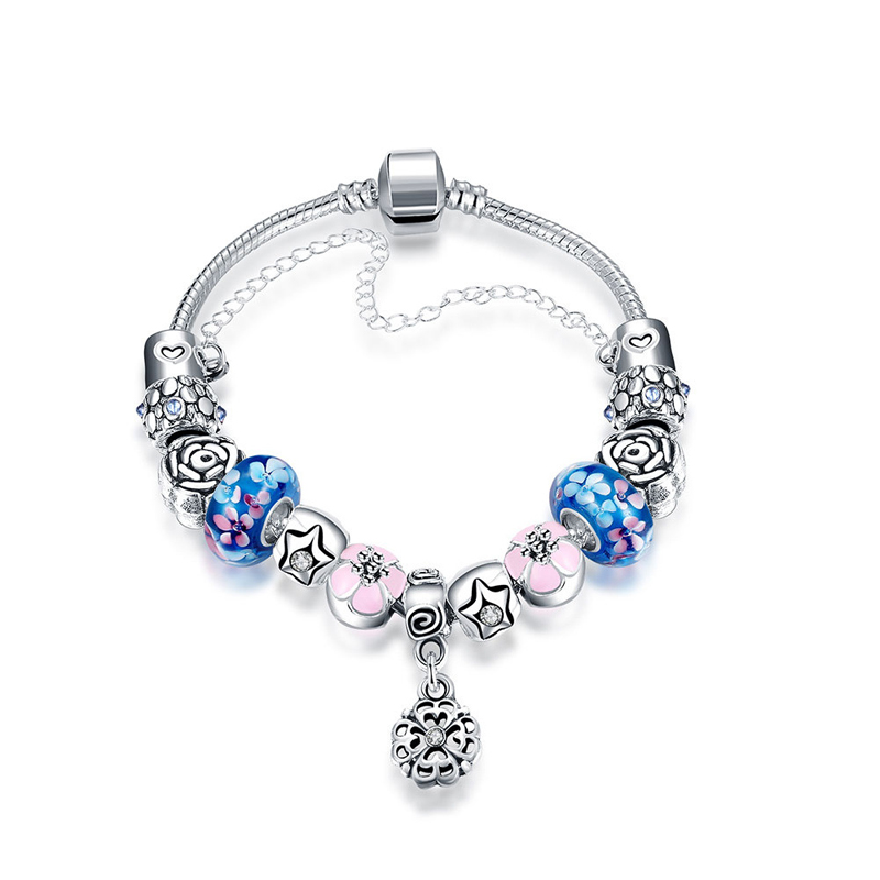 4 Colors 925 Silver Roses flower Charm for Women Bracelet Silver with Safety Chain & Pink Beads Bracelet Authentic Jewelry PD
