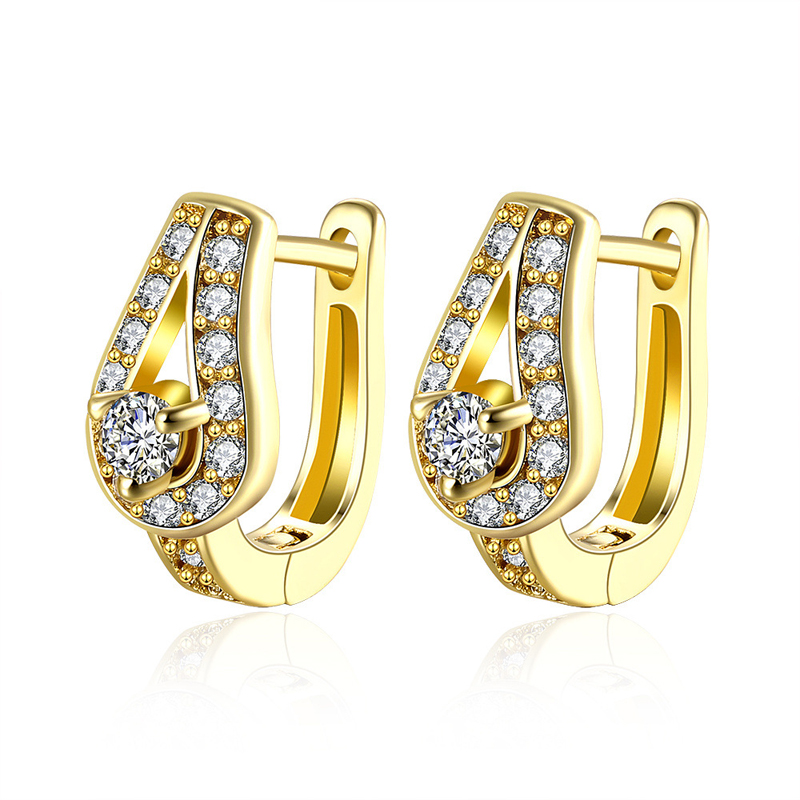 Gold Plated CZ Diamond Clip Earrings women Fashion Jewelry Pretty Earring AKE134
