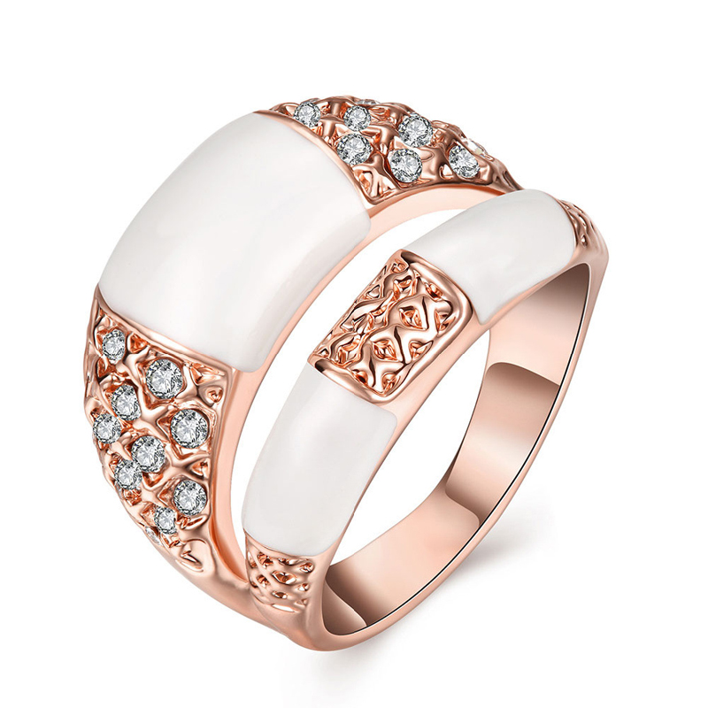Punk Style Rose Gold Plated Oil Drip Ring 18K Platinum Plated The Finger Double Round Rings Jewelry For Women AKR079