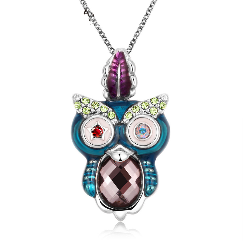Crystal Owl Necklace With Stones Fashion Jewelry Women Ethnic Rose Gold Hanger Uil Cute Cristal Choker   Necklace AKN012