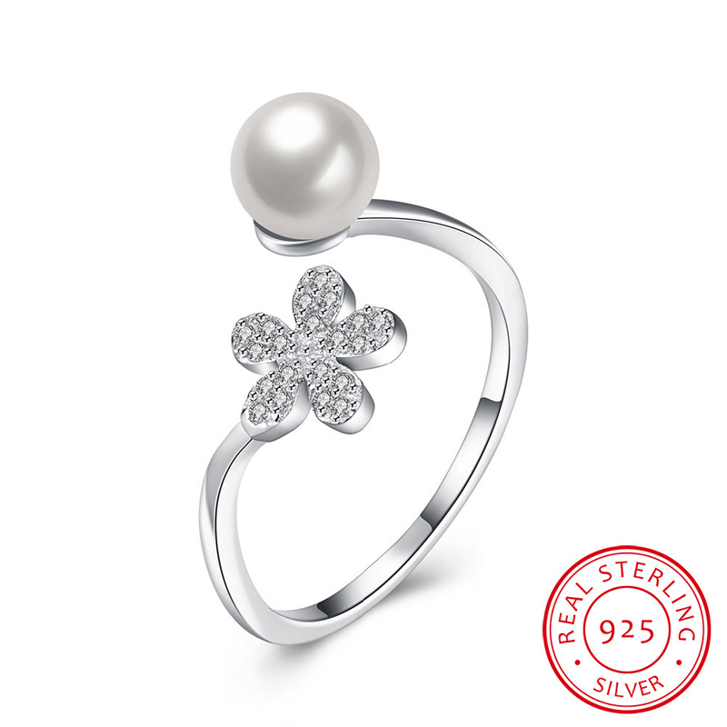 Flower & Pearl Open-End Ring Sterling-Sliver Rings Woman Jewelry European Style Jewlry SVR050
