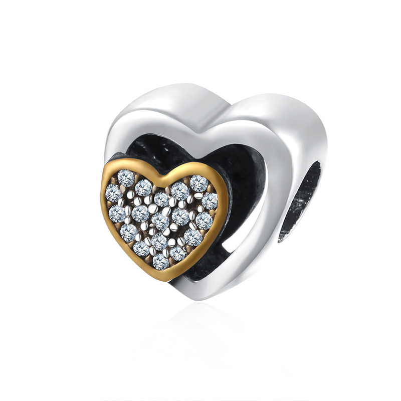 Fits For Pandora Bracelets Heart Charm Beads Authentic 925 Silver Oval Beads for Jewelry Making
