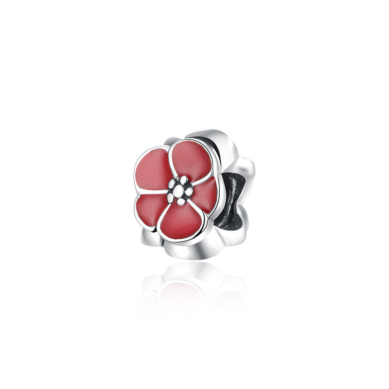 925 Sterling Silver Flower Beads DIY Charms Fit For Pandora Charms Bracelets and Pendants