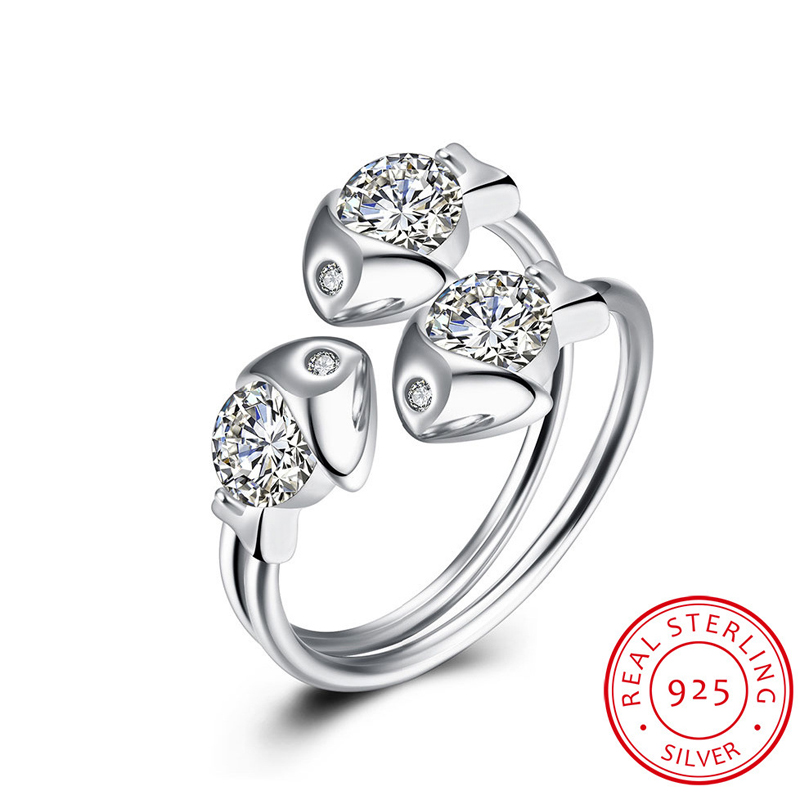 Ocean Fish Crystal Rings For Women 925-Sterling-Silver Wedding Rings SVR030