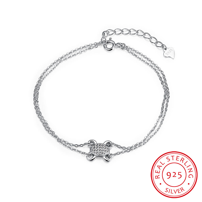 Frog with CZ Stone Charm Bracelets Authentic 925 Sterling Silver Double Link Chain Bracelets Jewelry SVH035