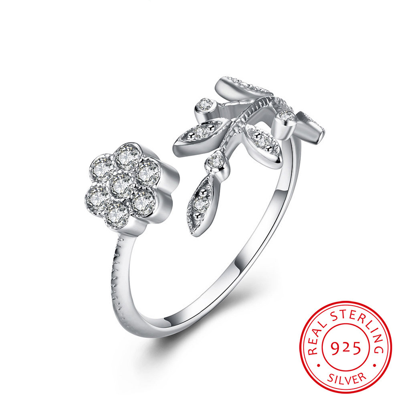 Flower & Leaf Open-End Ring Sterling-Sliver Rings Woman Jewelry SVR025