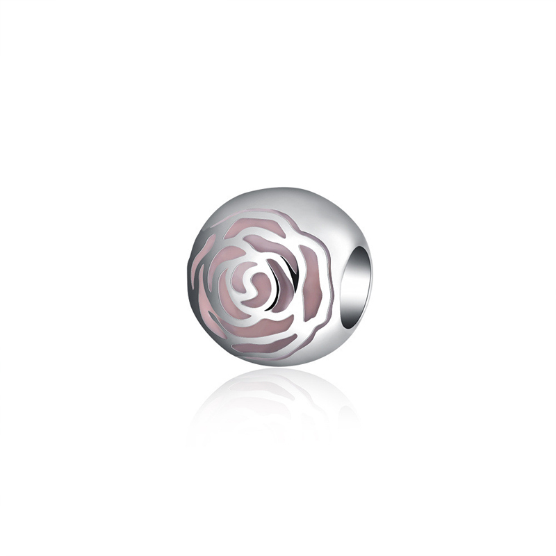 Original 925 Sterling Silver Rose Charms Bead Round Fit Pandora Bracelet DIY Jewelry Accessories