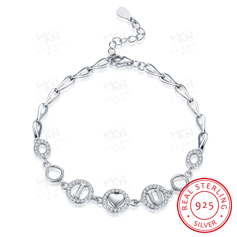 Pure 925 Sterling Silver Jewelry I love U Letters 20cm Bracelets Romantic Gift for Lover SVH026