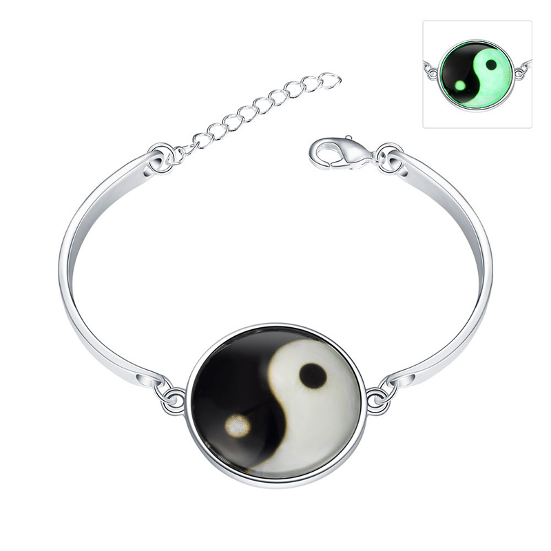 925 Sterling Silver Taichi Bracelet Luminous In the Dark YGH066