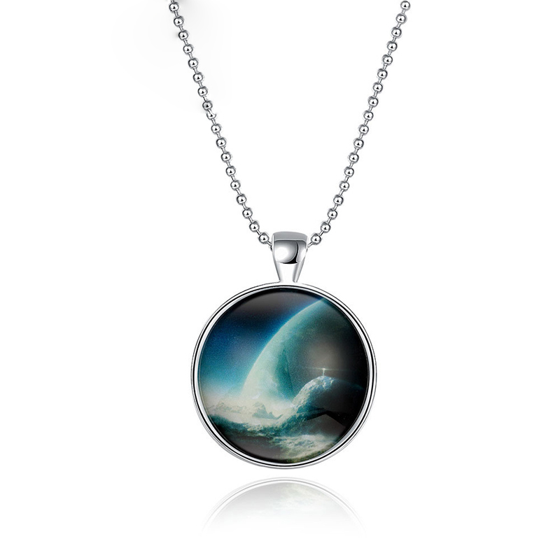 Silver Plated Saturn Planet Design Pendant Long Necklace Glow In The Dark Luminous Necklace YGN120