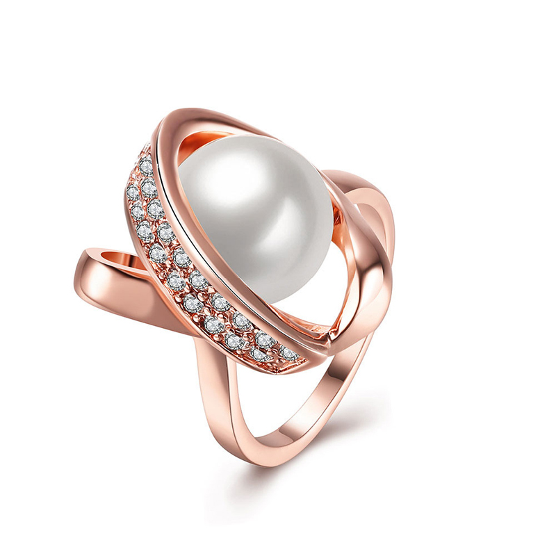 Classic Gold Plated Simulated pearl Rings New Fashion Jewelry CZ&crystal Ring For Women R160