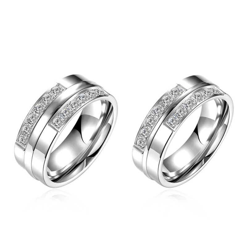 6mm Silver Rings For Women Men 316L Stainless Steel Wedding Engagement Bands Ring R098