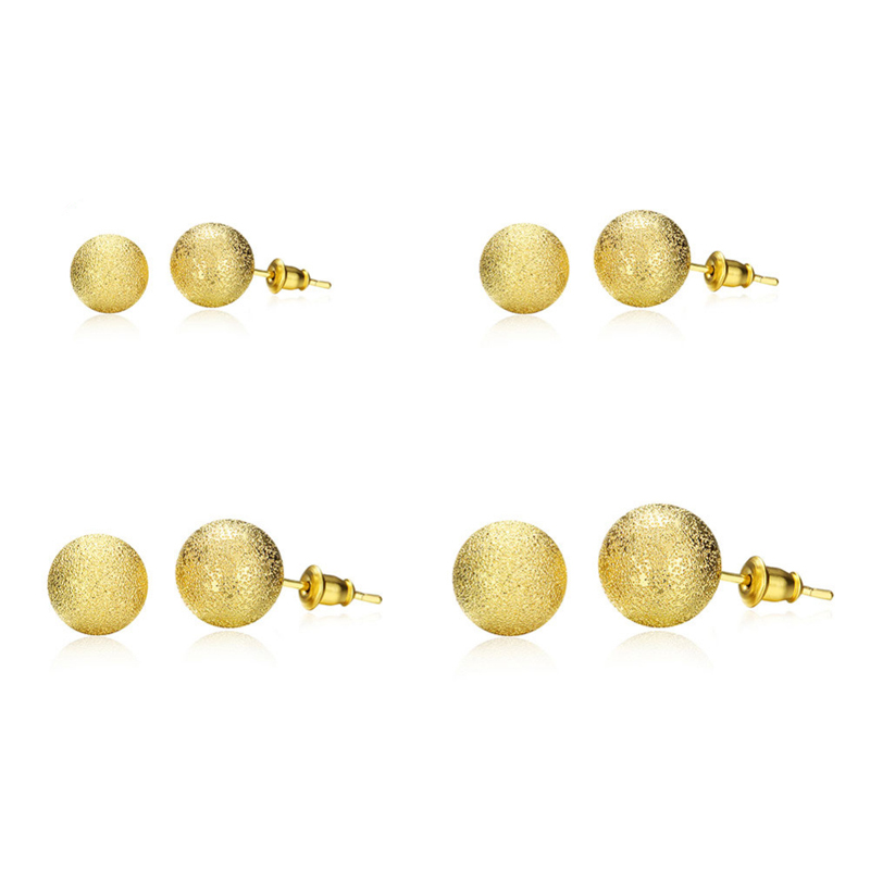 Gold Plated Ball Grind Arenaceous Stud Earrings orecchini donna Size 6/8/10/12MM Gift Fashion Jewelry AKE060