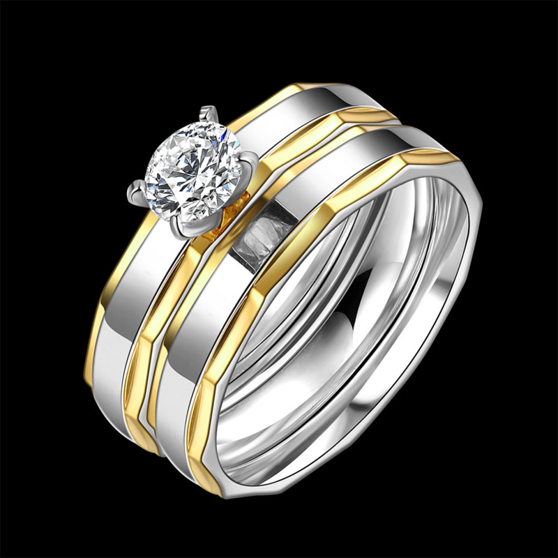 Gold Silver Plated Stainless Steel Rings Wedding Engagement Finger Ring R067