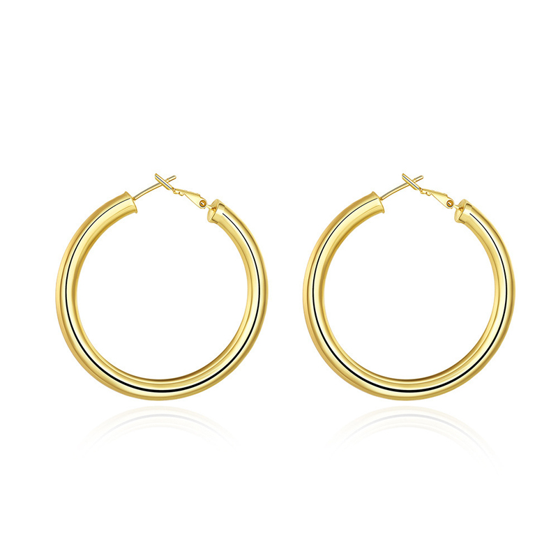 Gold Plated Cute Little Girl Like 50MM Diameter Round Hoop Earrings AKE064