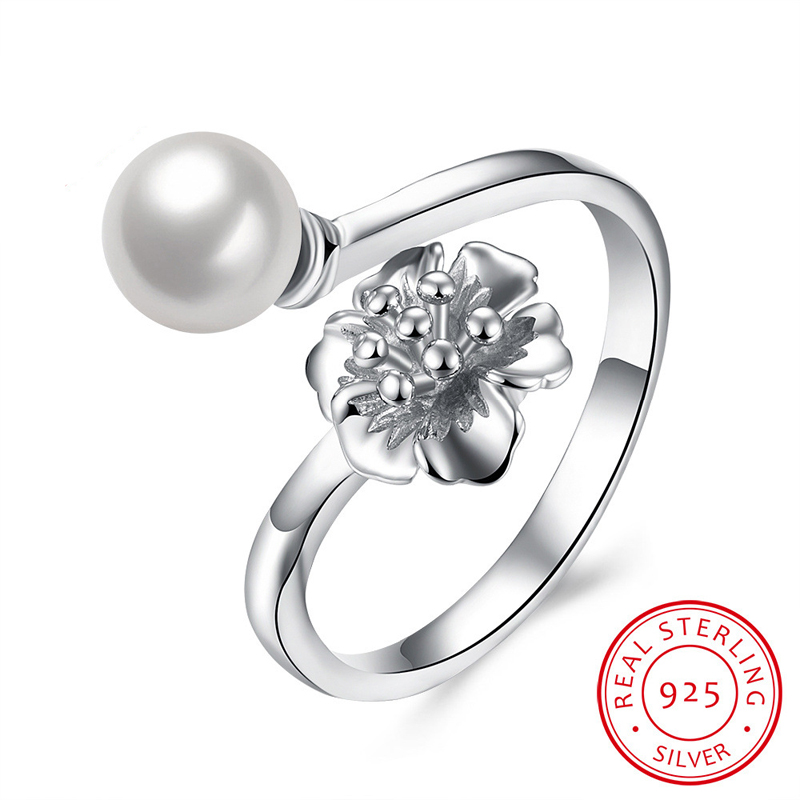 Pearl Crystal Blooms Rings For Women 925-Sterling-Silver Wedding Rings SVR080