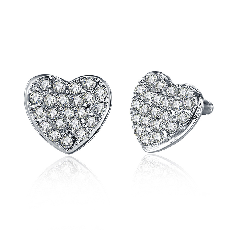 Romantic Love Heart Stud Earring Famous Brand Gold Plated Rhinestone For Women