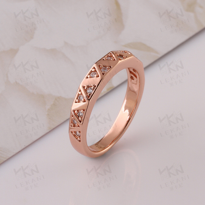 Gold Plated Rings For Women Triangles Pattern With Brilliant Cut CZ Diamond Ring KZCR024