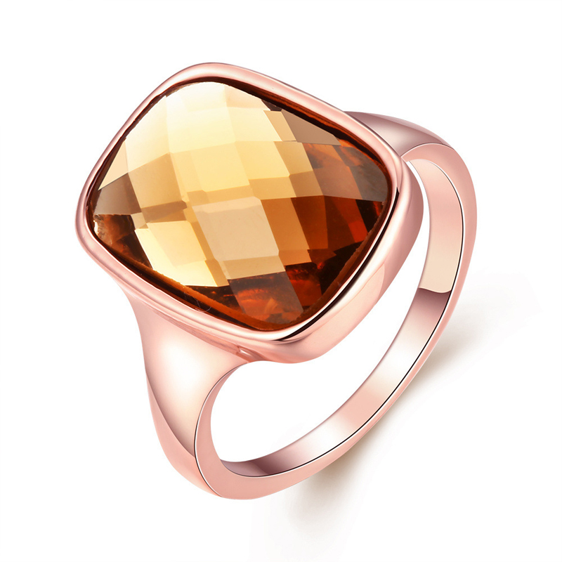 Rose Gold Plated Brown Austrian Crystal Ring for Women R061