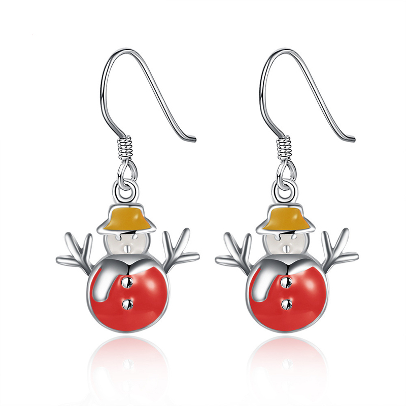 Silver Plated drop earrings for women Lovely Yellow Snowman Fashion Jewelry