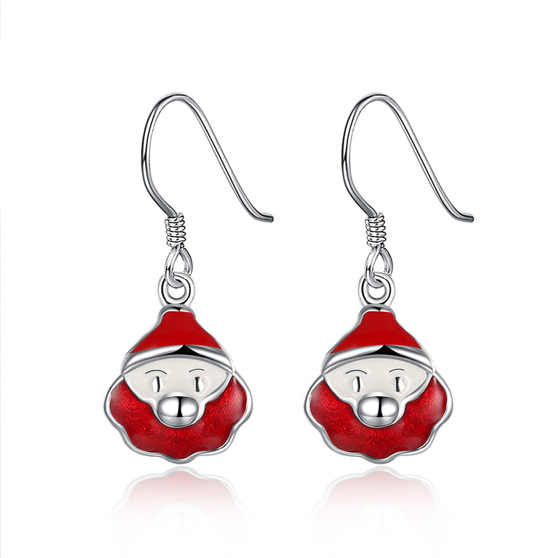 Santa Claus Snowman Pendant Dangle For Women Silver Plated Dangle Earrings