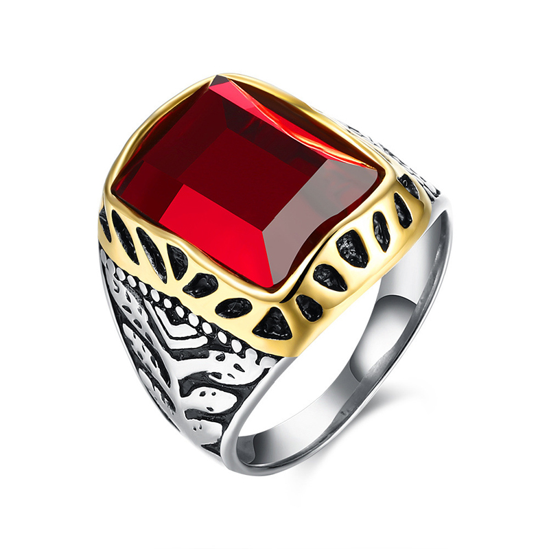Red Zircon Ring Jewellery 316L Stainless Steel Punk Rock Male Rings Retro Aneis TGR104
